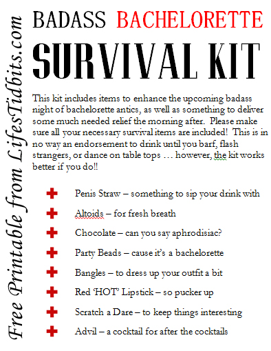 graphic relating to Printable Survival Cards identify Bachelorette Survival Package - Lifes Tidbits