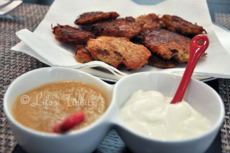 Potato Latkes Recipe serve with a side of apple sauce and sour cream, holiday recipe, hanukkah | Life's Tidbits