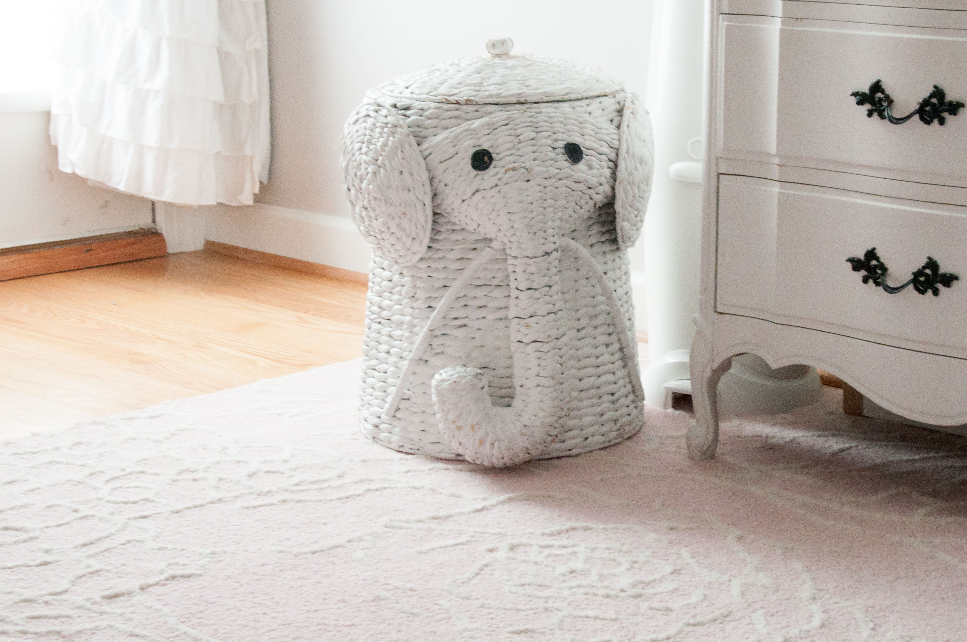 Light Pink, Gray and White Shabby Chic Nursery - Wicker Elephant Hamper | Life's Tidbits