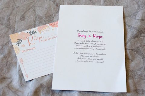 Think Pink! Bridal Shower Invitations - Back of Invitation with Recipe Card | Life's Tidbits
