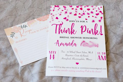 Think Pink! Bridal Shower Invitations - Front of Invitation with Recipe Card | Life's Tidbits
