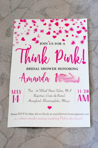 Think Pink! Bridal Shower Invitations - Front of Invitation | Life's Tidbits